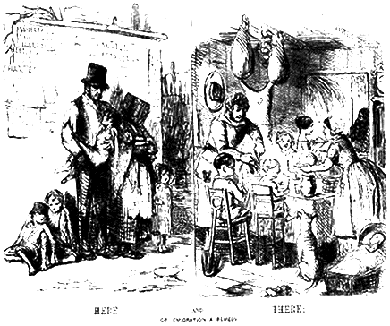 A cartoon illustating the appeal of immigration for Irish families